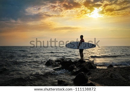 Sunset Surfer Silhouette