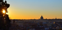 Sunset top view of St. Peter's cathedral in Vatican City, Rome (Italy)