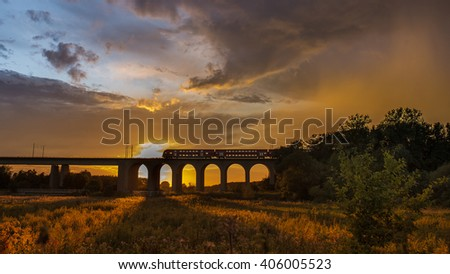 Sunset Train over Viaduct