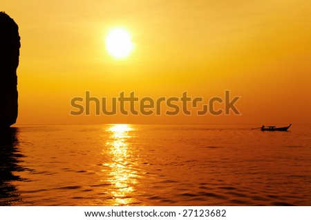 Sunset, tropical island, Andaman sea, Thailand