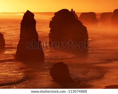 Sunset, Twelve Apostles, great ocean road, Australia