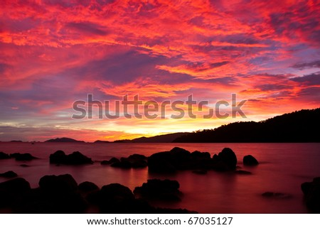 sunset twilight on Andaman sea,Thailand