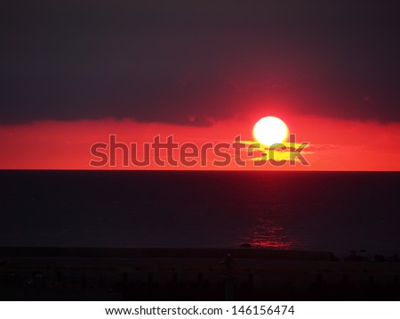 sunset under cloudy
