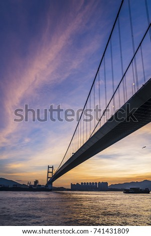 Sunset Under The Tsing Ma Bridge Of Hong Kong #741431809