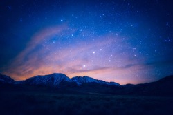 Sunset view and milky way sky galaxy view