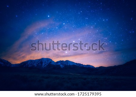 Sunset view and milky way sky galaxy view Photo stock ©