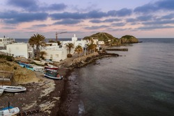 Sunset view at La Isleta del Moro village in the Cabo de Gata-Nijar National Park, Almeria province, Andalusia, Spain