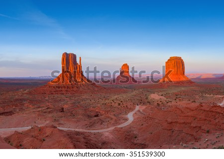 Sunset view at Monument Valley, Arizona, USA