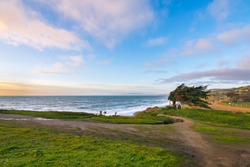 Sunset view at Mori Point over the coastline and Pacific Ocean, Golden Gate National Recreation Area, Mori Point Road, Sharp Park, Pacifica, California, USA, North America