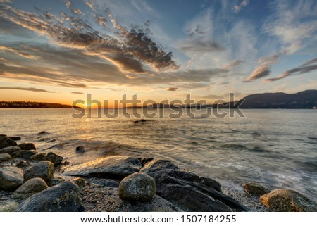 Sunset view at Point Grey Park beach, Vancouver, British Columbia, Canada Stock foto ©