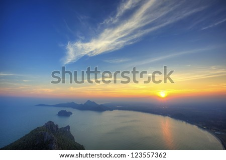 Sunset view at top view of mountain to the sea