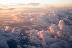 Sunset view from an airplane window