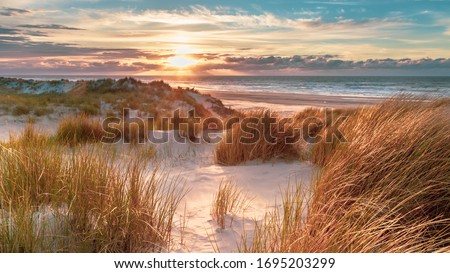 Sunset View from dune top over North Sea from the island of Ameland, Friesland, Netherlands Stock photo ©