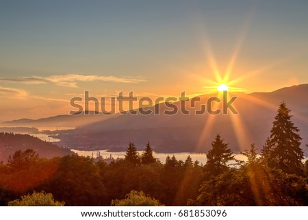 sunset view from mountaintop, Burnaby Mountain, British Columbia, Canada #681853096