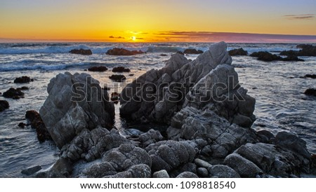Sunset view from the beach at Monterey California