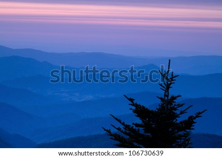 Sunset view from the highest point in the eastern United States - Mount Mitchell.  This peak is just off the Blue Ridge Parkway in North Carolina