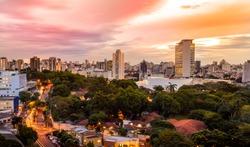Sunset view of Belo Horizonte, Minas Gerais, Brazil.
