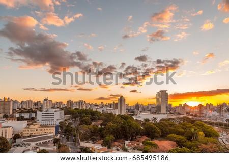 Sunset view of Belo Horizonte, Minas Gerais, Brazil. #685495186