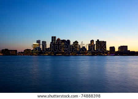 Sunset view of Boston skyline