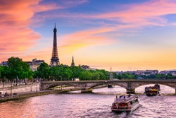 Sunset view of Eiffel tower and Seine river in Paris, France. Architecture and landmarks of Paris. Postcard of Paris