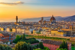 Sunset view of Florence, Palazzo Vecchio and Florence Duomo, Italy. Architecture and landmark of Florence. Cityscape of Florence