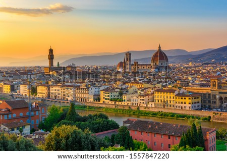 Sunset view of Florence, Palazzo Vecchio and Florence Duomo, Italy. Architecture and landmark of Florence. Cityscape of Florence Stock photo ©