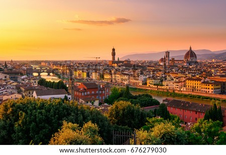 Sunset view of Florence, Ponte Vecchio, Palazzo Vecchio and Florence Duomo, Italy. Florence architecture and landmark, Florence skyline.