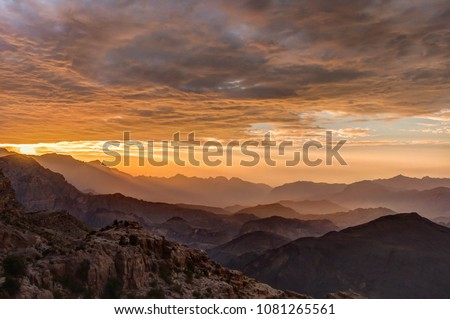 Sunset View of Hajar Mountains in Oman
