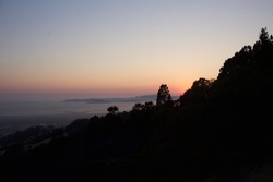 Sunset view of landscape of the San Fransisco Bay from Berkeley hills Grizzly Peak