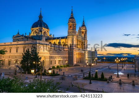 Sunset view of Madrid Cathedral Santa Maria la Real de La Almudena in Madrid, Spain. Architecture and landmark of Madrid  #424113223