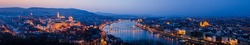Sunset view of panorama Budapest, Hungary, from fortress Citadel