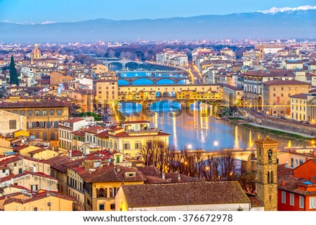 Sunset view of Ponte Vecchio, Florence, Italy. stock photo