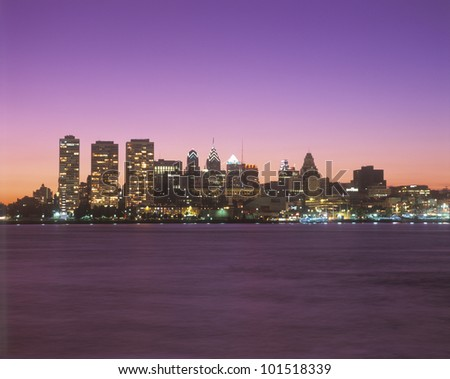 Sunset view of skyline of Philadelphia, Pennsylvania from the Delaware River