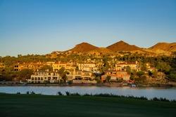 Sunset view of some beautiful residence house at Lake Las Vegas, Nevada