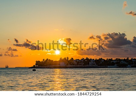 Sunset, view of Sunset y Island from Mallory Square, Key West, Florida, US Zdjęcia stock ©