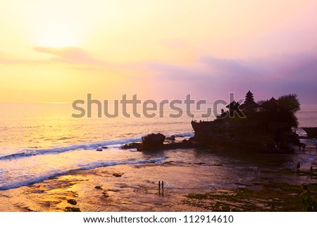 Sunset view of Tanah Lot temple, Bali Island, Indonesia - stock photo