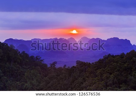 Sunset view of the beauty mountains - stock photo