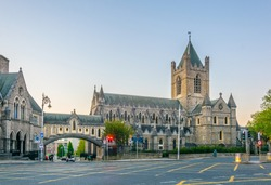 Sunset view of the Christ church Cathedral in Dublin, Ireland