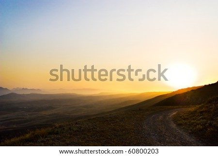 Sunset view of the crimea mountains