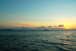 Sunset view of the flores sea near Flores Island, Indonesia