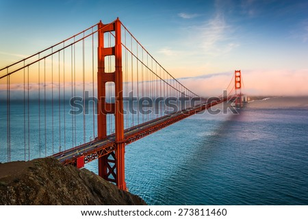 Sunset view of the Golden Gate Bridge and fog from Battery Spencer,  Golden Gate National Recreation Area, in San Francisco, California. #273811460