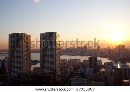 sunset view of tokyo
