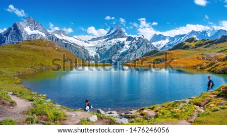 Sunset  view on Bernese range above Bachalpsee lake. Popular tourist attraction. Location place Switzerland alps, Grindelwald valley, Europe.  #1476246056