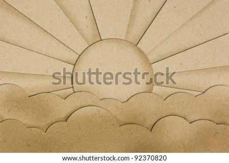 sunset view on brown paper