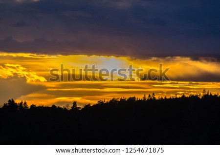 Sunset view on the Baltic sea next to Stockholm at the spring time #1254671875