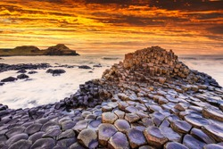 Sunset view on the Giants Causeway in Northern Ireland.