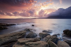 Sunset views in Elgol village, Isle Of Skye, Scotland, UK