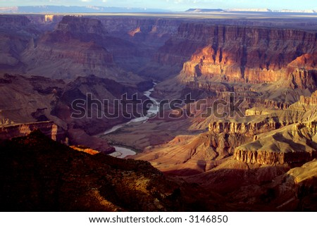 Sunset vista of Grand Canyon National Park, Arizona, USA