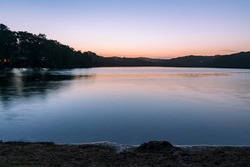 Sunset Waterscape at Copacabana Lagoon on the Central Coast, NSW, Australia.