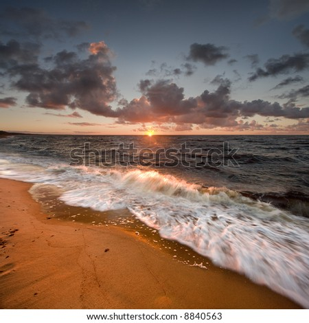 Sunset Wave - stock photo
